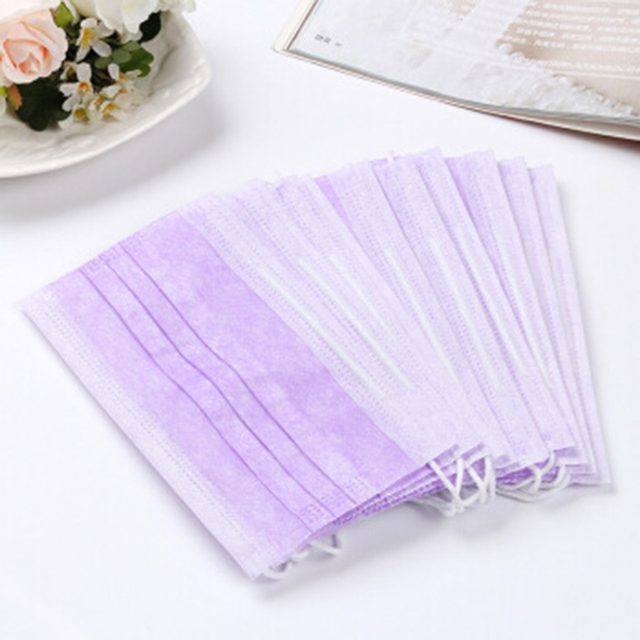 10/20/50/100/200Pcs Purple Disposable Civil Cloth Face Mask Non-woven Breathable Three-layer Mouth Mask 1