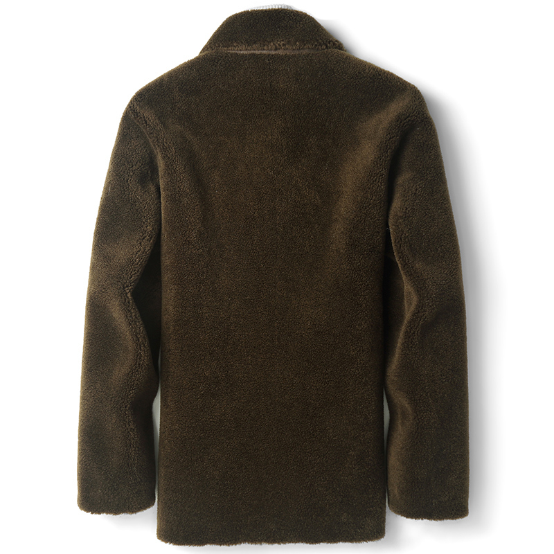Real Sheep Shearling Fur Coat Winter Jacket Men Streetwear Wool Coats Suede Lining Windbreaker Jackets D-14-1819 MY1169