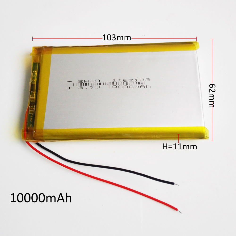 <font><b>3.7V</b></font> <font><b>10000mAh</b></font> Lithium Polymer Rechargeable <font><b>Battery</b></font> Li-Po For GPS PSP DVD Power bank 9