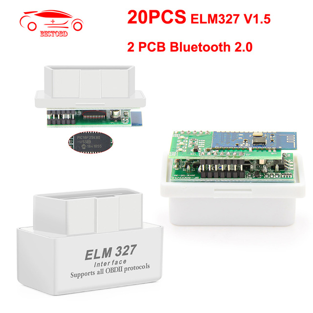 (20 יח\חבילה) מיני ELM327 v1.5 PIC18F25K80 OBD2 סורק Bluetooth עבור אנדרואיד ELM 327 V1.5 OBD קוד קורא אבחון ToolCAN אוטובוס