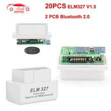 (20 개/몫) 미니 ELM327 v1.5 PIC18F25K80 OBD2 스캐너 블루투스 안 드 로이드 ELM 327 V1.5 OBD 코드 리더 진단 ToolCAN 버스