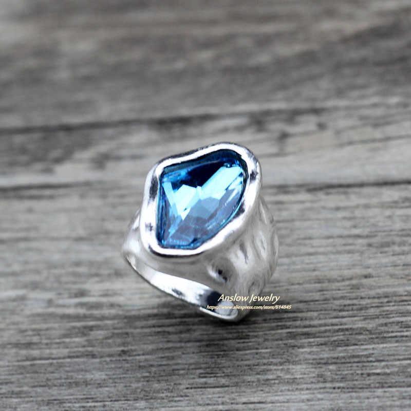 Anslow, diseño Original, joyería de moda, Vintage, cristal Irregular, parejas, anillos de amor para mujeres, regalo del Día de San Valentín LOW0042AR