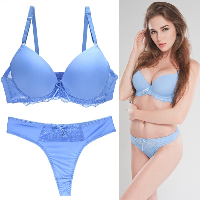 New Big Size Bra Set 34/75 36/80 38/85 40/90 42/95 B C D E Cup Push Up Basic Bra Women T-Shirt Bra Panty Sets Plus Size