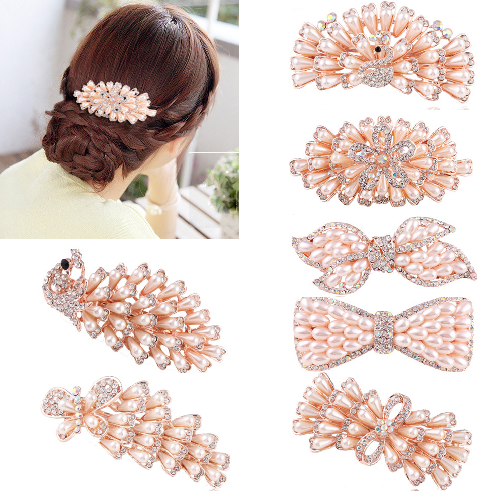 Hair Ornaments New Female Hairpins Peacock Hairpin Pearl Cystal Hair Clips Women Hair Jewelry Rhinestone Barrettes