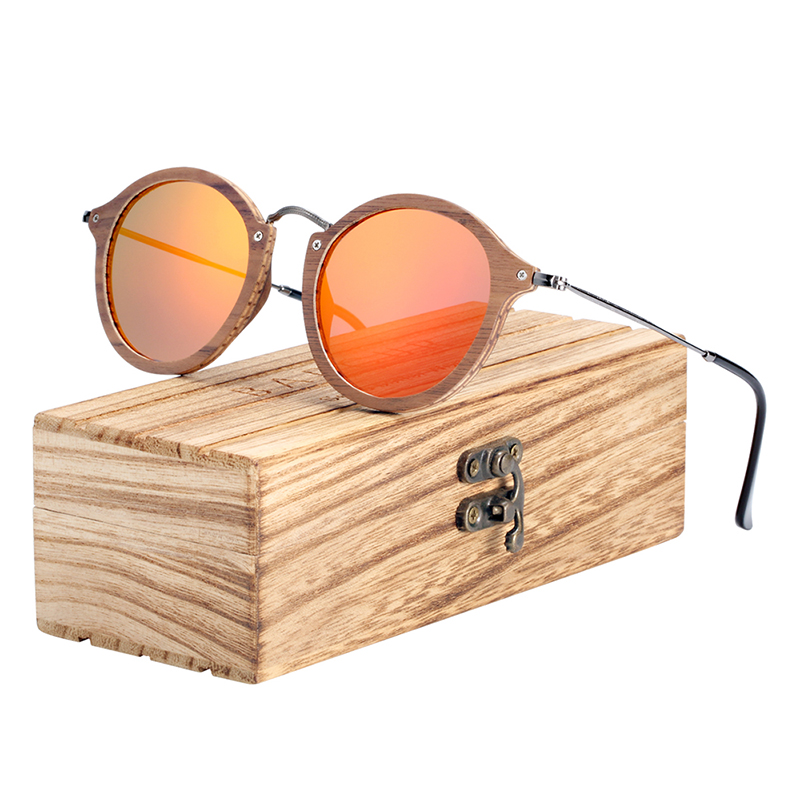 BARCUR  Vintage Natural Black Walnut Sunglasses Round Polarized Wooden Men Women BC7106