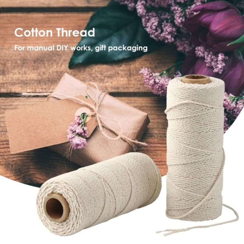 2 Strand Twisted Macrame Cord Natural Cotton Rope For Handmade Wall Hanging Plant Hangers DIY String Knitting Craft