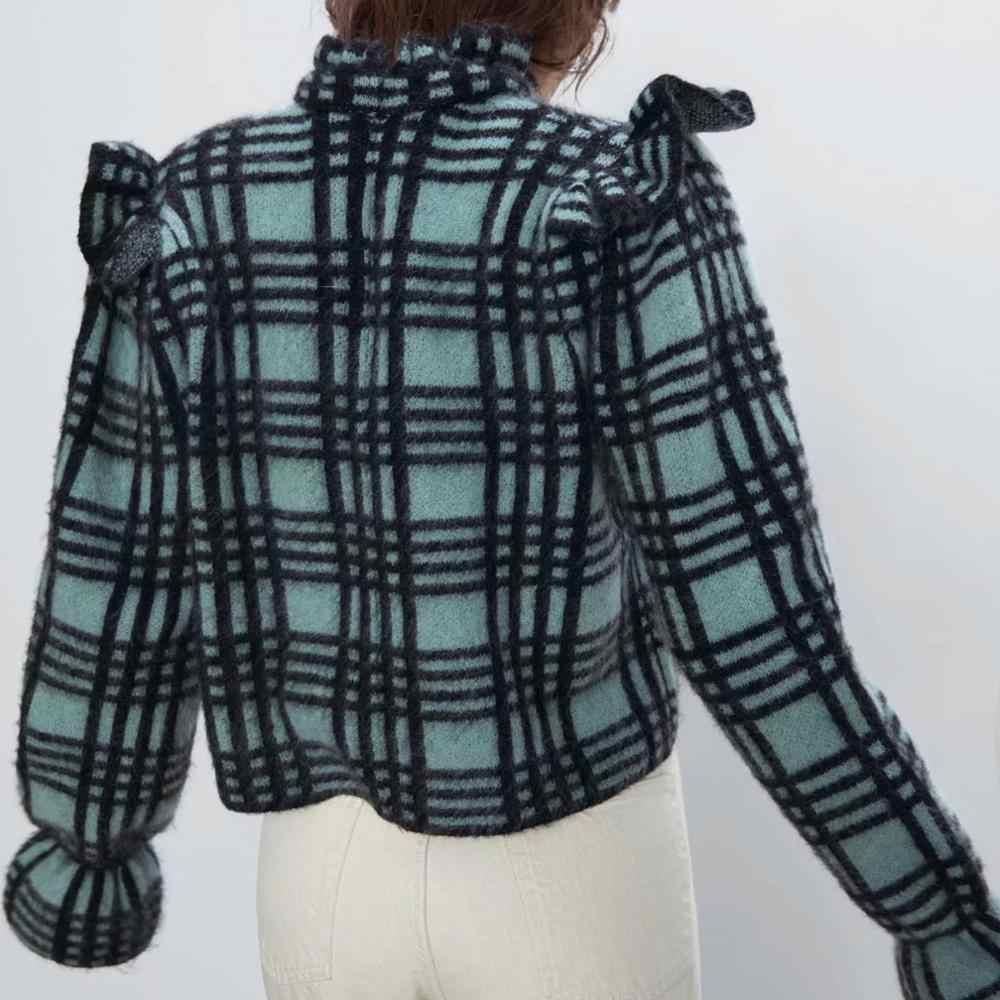Za 春の新作冬の女性のターコイズセーターチェック柄フリルトランペット flare スリーブニットセーター女性はカジュアル女性トップス
