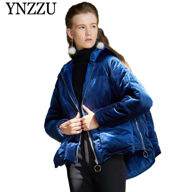 2019 Winter Thick Warm Velvet Women   Down   jacket Zipper Pockets Loose Overcoat   Down     coat   Fashion Solid Short outwear YNZZU YO943