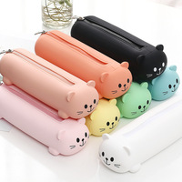 Silicon Pencil Case Cute Bear Face Pen Bag Solid Color Kawaii Pencil Case Simple Design Zipper Pen Pouch Candy Color Stationary