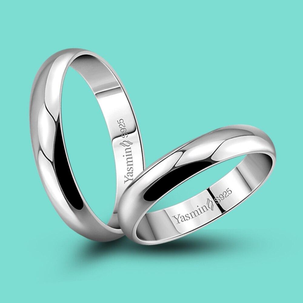 Mode Couple anneaux 925 en Argent Sterling conception lisse anneau Simple Argent bague en Argent cadeaux danniversaire bijoux en Argent populaires