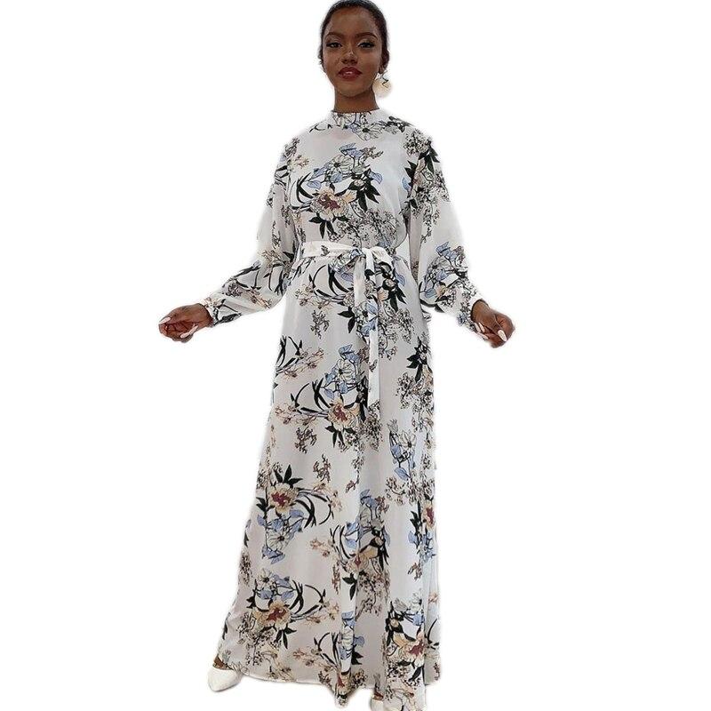 Fashion Abaya Women Floral Print Maxi Dress Turkish Kaftan Dubai Jilbab Muslim Long Caftan Islamic Clothing Arab Robe Party Gown