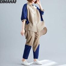 DIMANAF Plus Size Women Sets Linen Autumn Vintage Patchwork Blouse Tops Shirt Loose Big Long Pants Oversize Set Suit 2019