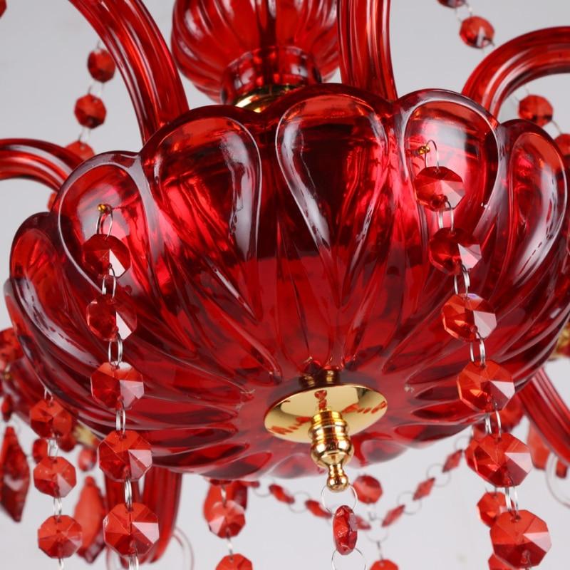 Red chandelier living room Bedroom Kitchen island wedding chandeliers lustre de cristal Indoor home large Chandelier Lighting