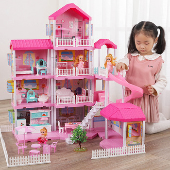 Baby DIY Doll house Pretend Toys Pink Assemble Princess Handmade Construction Castle Miniature Furniture Dollhouse For kids Gift let s pretend sticker activity my princess castle
