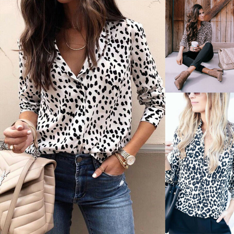 Mode Frauen Langarm Leopard Bluse V neck Shirt Damen OL Party Top Dame tragen vintage chemise femme Streetwear Plus größe