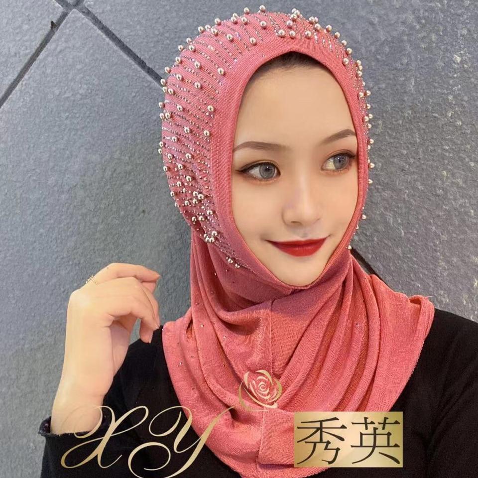 2020 Shawls Scarf Muslim Women Instant Ready To Wear Beading Hijab