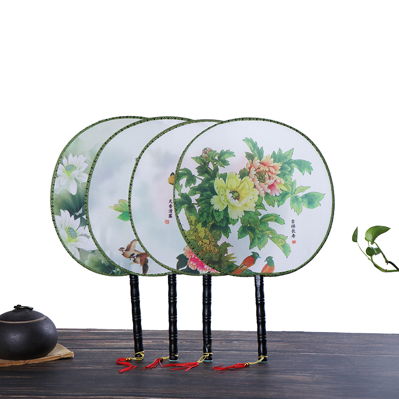 Chinese Ancient Palace Style Round Fan Hand Held Silk Fans For Wedding Event Party Supplies Home Decor Birthday Gift