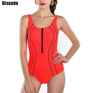 Image 3 - Costume da bagno intero Riseado Sport con cerniera costumi da bagno donna 2021 costume da bagno con fasciatura incrociata costume da bagno competitivo da spiaggia tagliato