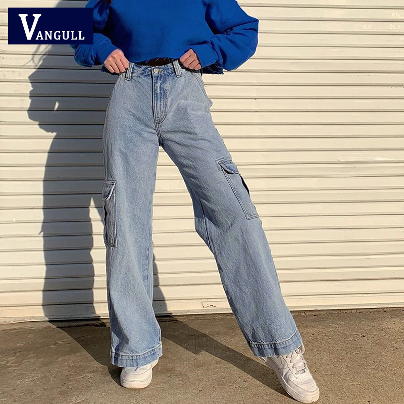 Vangull Pockets Patchwork High Waist Jeans Women Streetwear Straight Casual Jean Femme Blue Cotton Full Length Cargo Pants