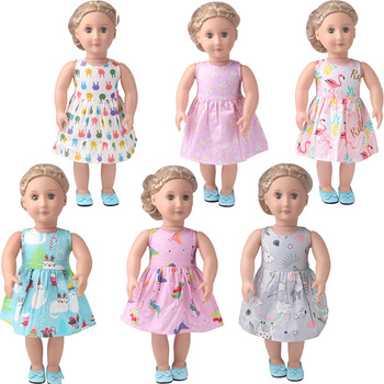 18 inch Girls doll clothes Summer print dress American new born skirt fit 43 cm baby accessories c898 baby born doll clothes toys white polka dots dress fit 18 inches baby born 43 cm doll accessories gc18 36