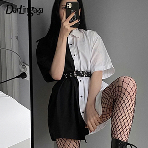 Darlingaga Streetwear Black White Long Blouse Shirt Patchwork Contrast Color 2020 Fashion Women Blouses Tops Loose Cardigan Sale