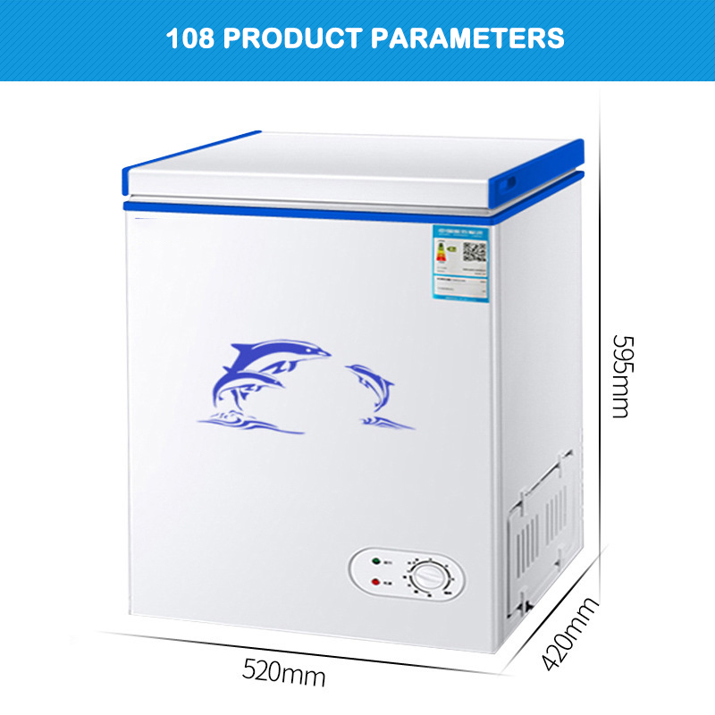 Refrigerator Full Freezer Household Cabinet Capacity 108 Liter 128 Liter Single Door Small Freezer Top Open Tea Seafood Freezer image