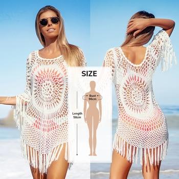 CUPSHE White Crochet Bikini Cover Up with Fringe Trim Women Sexy Hollow Tunic Beach Dress 2021 Summer Bathing Suit Beachwear 20