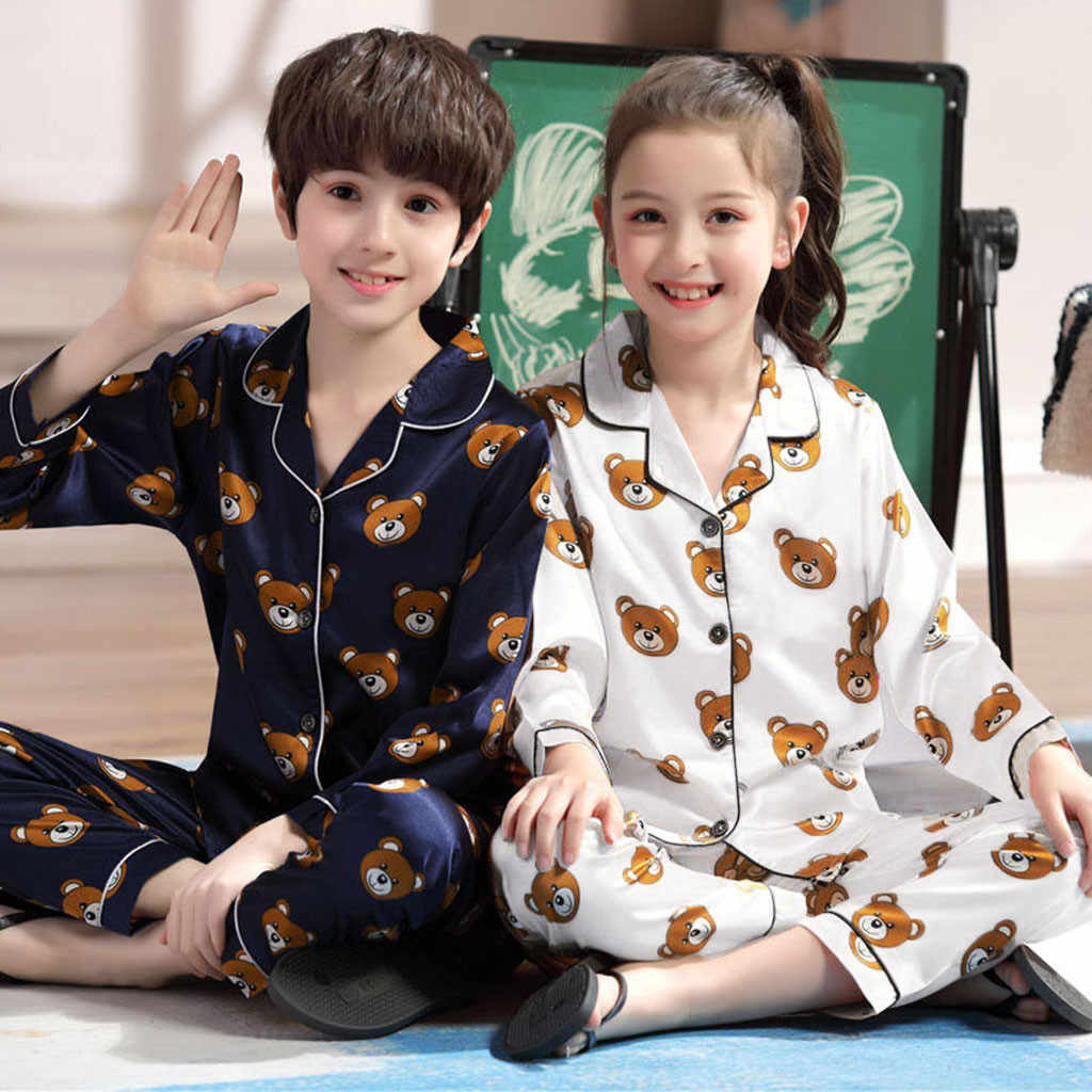 Baby Boys Girls Clothes Fashion Cotton SetLong Sleeve Cartoon Bear Tops+Pants Pajamas Sleepwear Outfits Kids Summer Outfit New