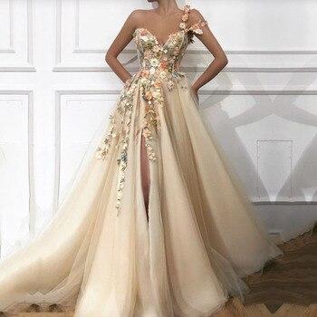 Elegancka sukienka na studniówkę długie dekolt w serek aplikacje z kwiatami ręcznie boczne rozcięcie tiul suknie wieczorowe Party Graduation vestido de festa