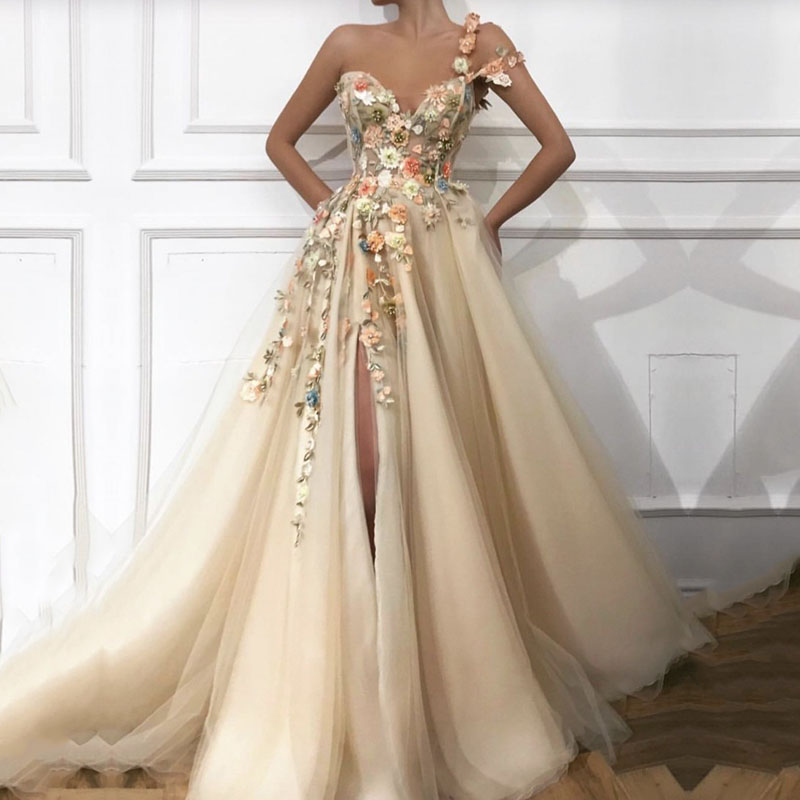 Elegant Prom Dress Long V-Neck Appliques With Flowers Handmade Side Split Tulle Evening Gowns Party Graduation Vestido De Festa