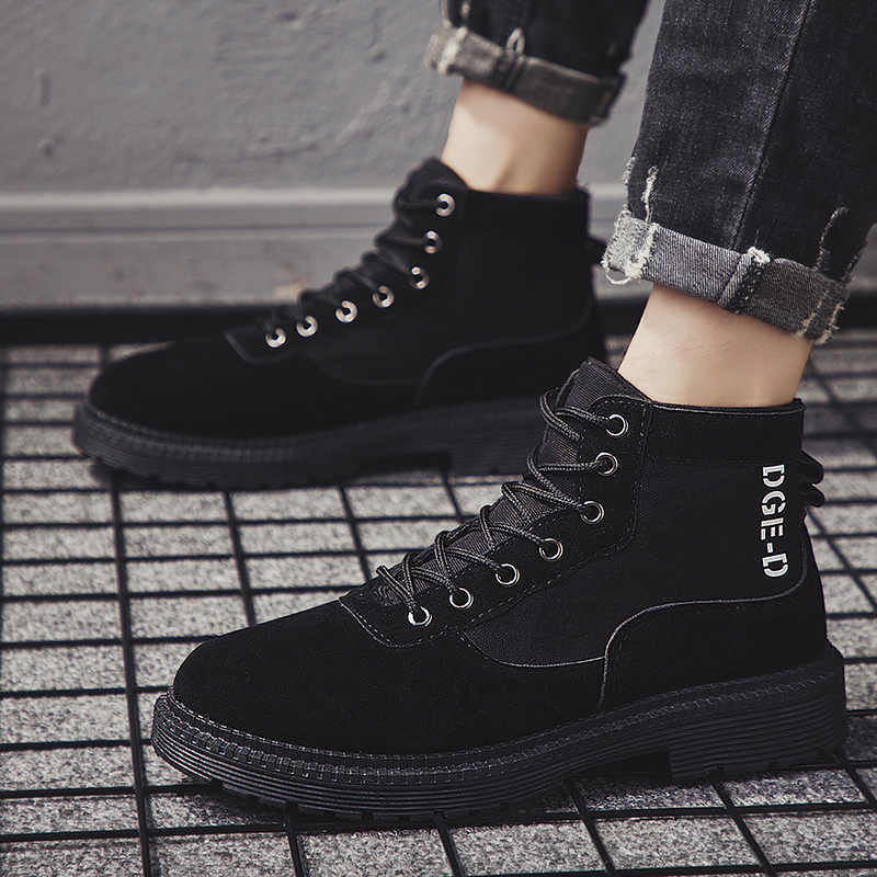 Hommes bottes militaires 2019 mode extérieure toile chaussures hautes hommes chaussures décontractées bottines noires Chelsea bottes Zapatos De Hombre