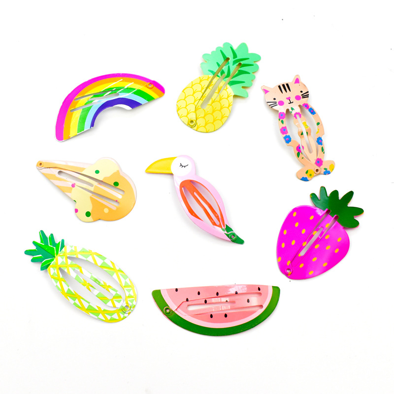 8 Pcs Different Children BB Clip, Fruit Animal Hairpin, Girls And Kids Clip, With Baking Varnish,  Coating Evenly Hairpin