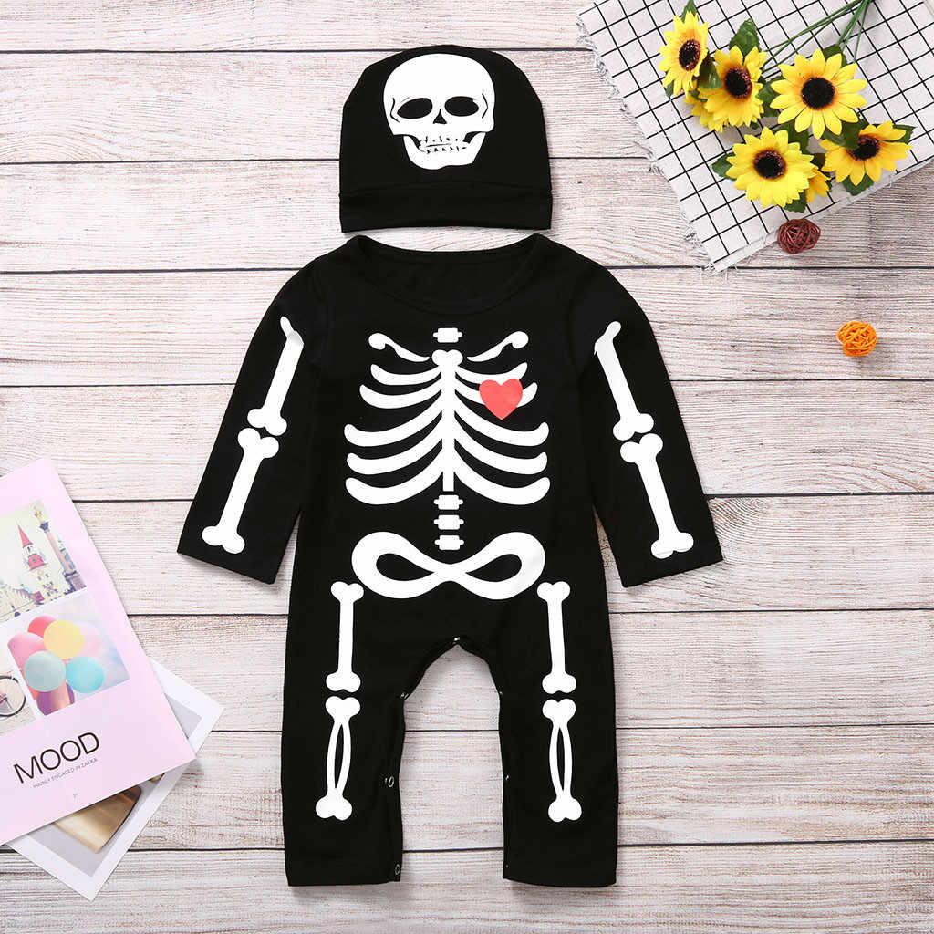 Комбинезон для новорожденных мальчиков и девочек на Хэллоуин с принтом костей, комбинезон + шапка, комплект детской одежды, одежда для малышей, Детский костюм, 0-24 мес.