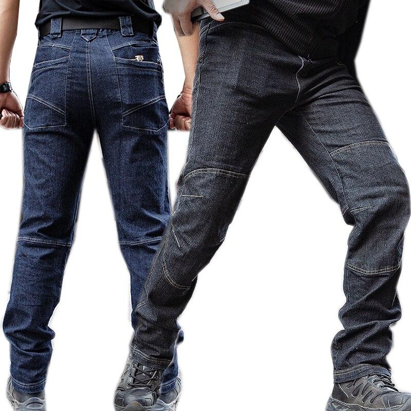 Men Tactical Denim Pants Stretchy Jeans Trousers Comfortable Full Length Multi Pockets Commuter Strengthen Knee Training Pants