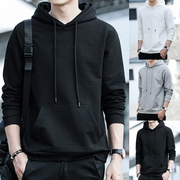 Men Solid Hoodies Autumn Casual Hooded Hip Hop Sports Sweatshirts Streetwear Long Sleeve Plus Size Warm Fleece Male Pullover