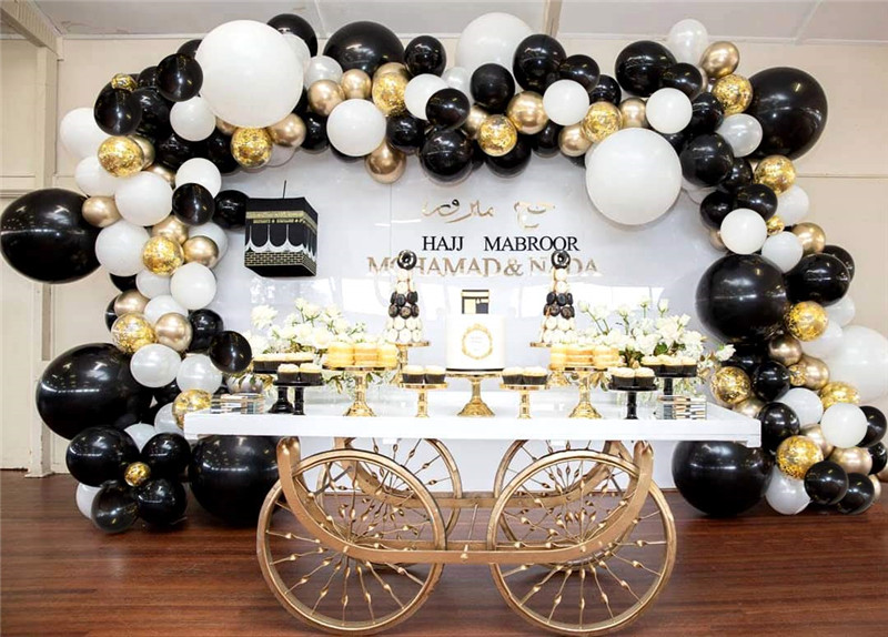 Image 5 - 101pcs black white latex balloon garland arch kid metal gold confetti Wedding Party Balloons Baby Shower Supplies Backdrop Decor-in Ballons & Accessories from Home & Garden