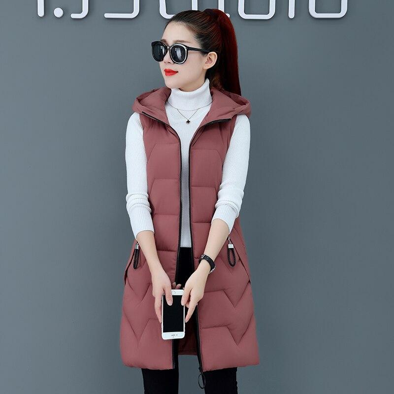 Winter Waistcoat Autumn Long Vest Women Parka Oversize Coat Thick Warm Jacket Sleeveless Tunic Vintage  Outerwear