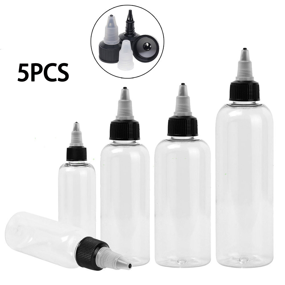 5PCS 30/60/120ml PET Empty Transparent Plastic Dropper Bottle E Liquid Oil Vape Container Smoke Oil Container With TWIST Cover