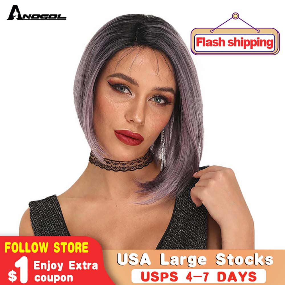 ANOGOL Side Part Short Straight Bob Wig Blonde Purple Brown And Dark Roots Synthetic Lace Front Wig With Baby Hair For Women