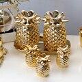 Keramik Weihnachten Goldene Ornamente Ananas Glas Geblasen Ornamente für Weihnachten Baum