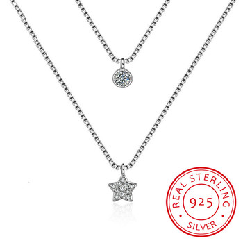 New Arrival 925 Sterling Silver Double Layers Necklace With Star Pendent Collarbone Necklace Chain For Women & Girl Jewelry image