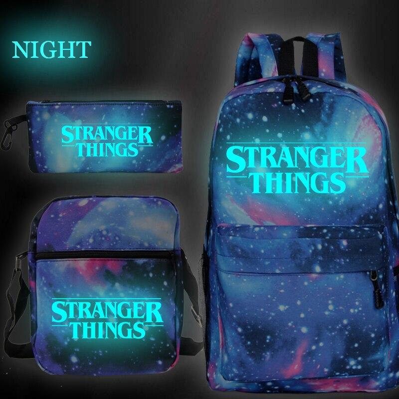 Stranger Things 3pcs/set Luminous School Bags For Teenager Boys Girls Knapsack Women Men Mochila Backpacks