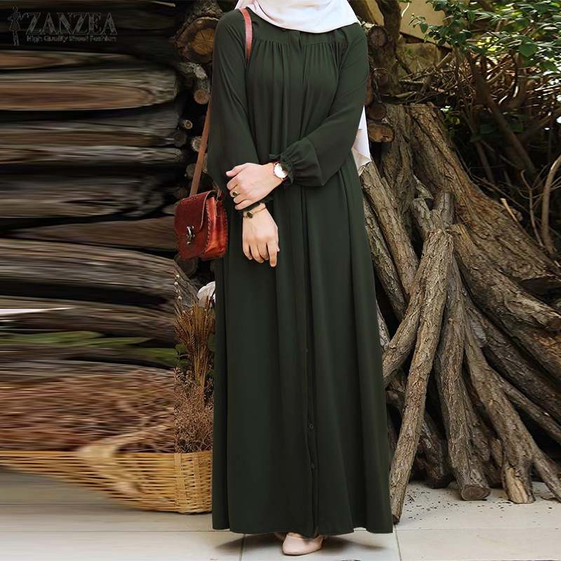 ZANZEA Women Vintage Dubai Abaya Turkey Hijab Dress Autumn Sundress Solid Muslim Islamic Clothing Long Sleeve