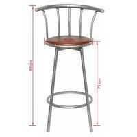 High Quality Bar Stools VidaXL Bar Stool Metalic Chair 2 Pcs Brown Steel 360degree Swivel Bar Stools for Living Room Bar Counter