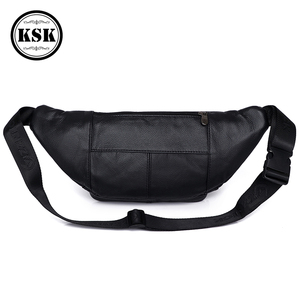 Image 4 - Men Waist Pack Genuine Leather Bag Waist Belt Bag Leather Fanny Pack For Men 2019 Fashion Luxury Male Small Shoulder Bags KSK