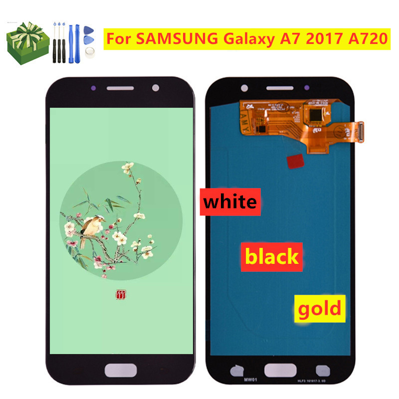 OLED <font><b>LCD</b></font> Replacement For <font><b>SAMSUNG</b></font> Galaxy A7 2017 SM-A720F A720F <font><b>A720</b></font> <font><b>LCD</b></font> Touch Screen Digitizer Assembly <font><b>Lcd</b></font> Display image