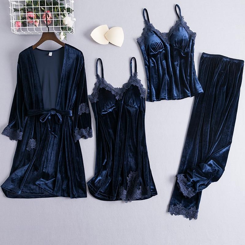 Lady Sexy Kimono Bathrobe Gown 4PCS Robe Suit Plus Size 3XL Sleepwear Nightgown Soft Velour Nightdress Sexy Intimate Lingerie