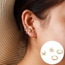 Для женщин стержня уха модная одежда для девочек из сплава с изображением луны и звезд, серьги-Клипсы Серьги-гвоздики простая элегантная 4 шт./компл. ювелирные изделия Аксессуары подарок девушке J55