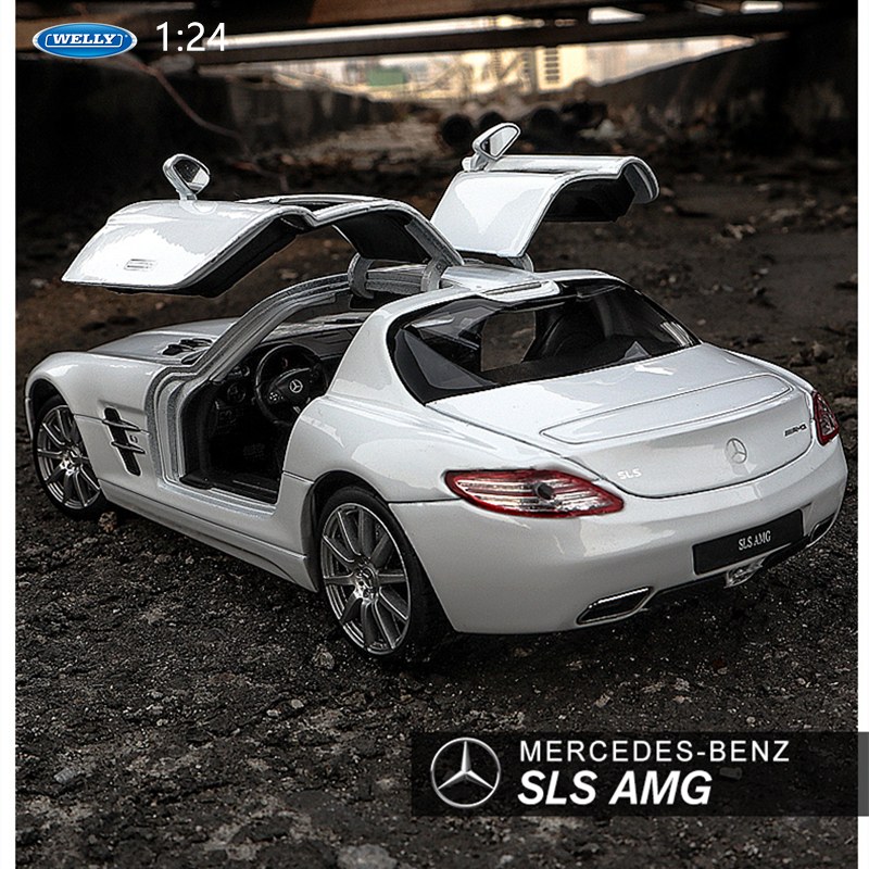 Welly 1:24  Mercedes SLS AMG White  Car Alloy Car Model Simulation Car Decoration Collection Gift Toy Die Casting Model Boy