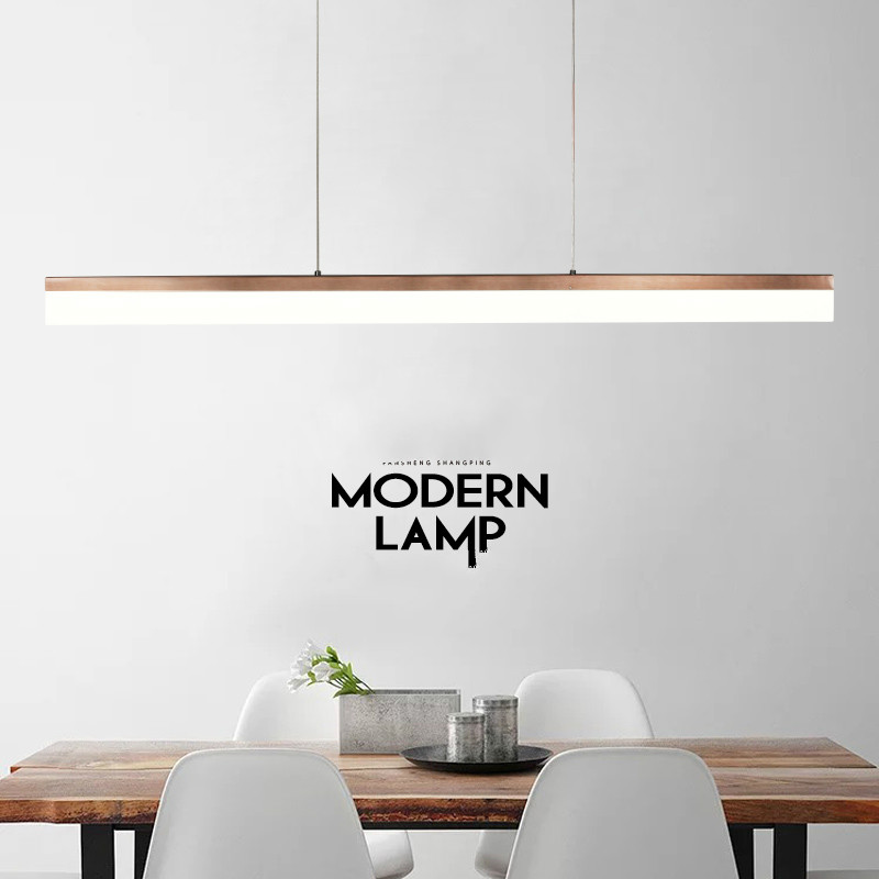 Led Long Modern Pendant Lamp Simple Office Shop Iron Light Horizontal Living Room Decoration Kitchen Hanging Lamps Light Fixture